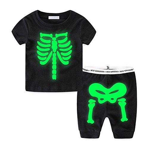 UWESPRING Baby Boy 2pcs Short Sets Night Glow Skeleton Short Sleeve T-Shirts+Short Pants Outfits Clothes (Glow Skeleton)