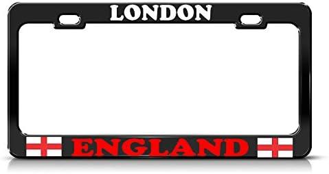 Moon London City England Bandera Resistente Negro Marco de matrícula Hombres y Mujeres Coche garadge decoración