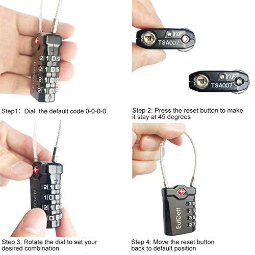 [해외구매대행 $12 99] TSA Approved Travel Luggage Locks, EutDett Combination  Cable Lock with Inspection Indicator and Alloy Body, 4 Digit Combination
