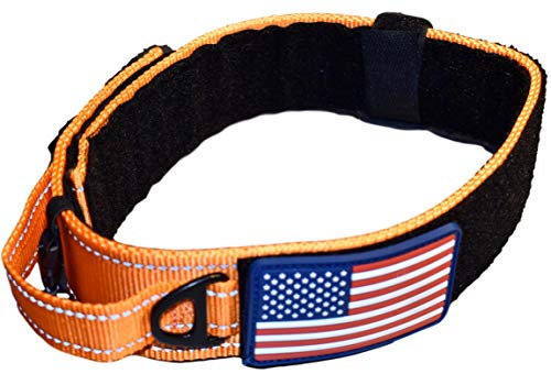 DOG COLLAR WITH CONTROL HANDLE QUICK RELEASE METAL BUCKLE HEAVY DUTY MILITARY STYLE 2