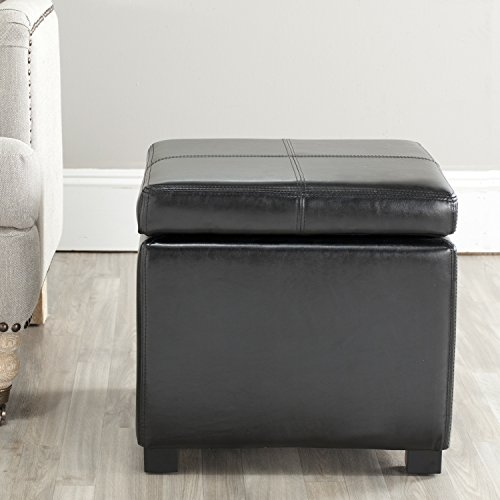 Safavieh Hudson Collection Williamsburg Black Leather Square Storage (Hudson Chair Living Room Chair)