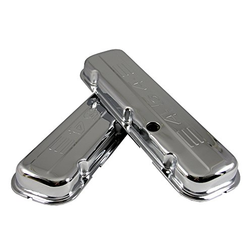 Assault Racing Products A9844 Chevy Big Block 454 Logo Chrome Short Valve Covers BBC 396 427 (Big Block Valve Cover)