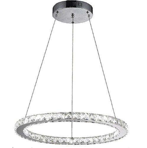 Flashing God K9 Really Crystal Dimmable LED Lighting Rings Chandelier Ceiling Lamp Fixtures Modern Pendant Light, 3000-6500 Kelvin.D7.8 .