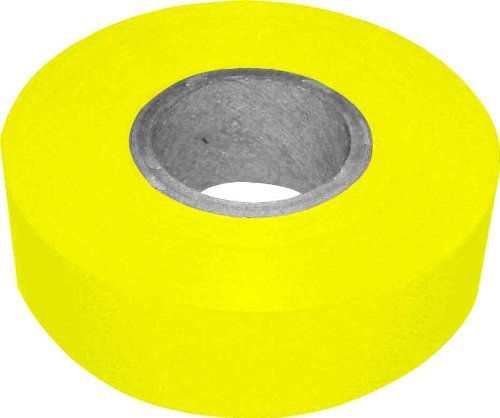 Bon 84-839 300-Feet by 1-3/16-Inch 4-Mil High Visibility Flagging Tape, Yellow, 12-Pack (300' Flagging Tapes)