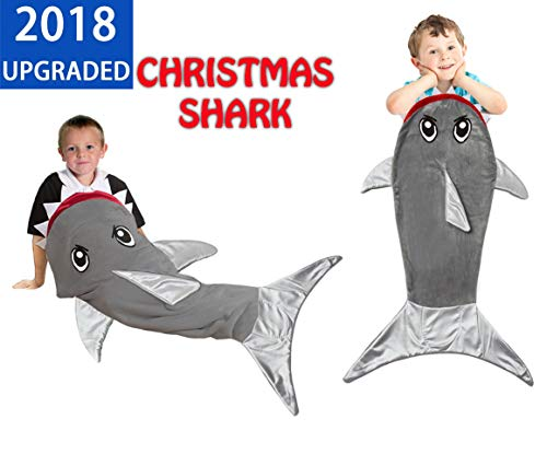Shark Tail Blanket Sleeping Bag for Boys Girls and Kids  Age 3-12 Years. Soft Fleece Fabric. Best and Super Cuddly Gift for Christmas and Birthday -