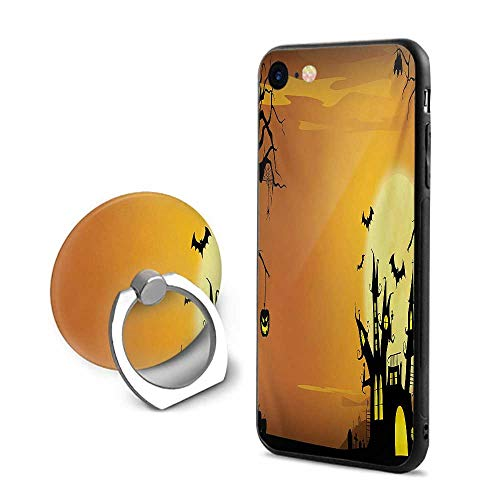 Halloween iPhone 7/iPhone 8 Cases,Gothic Haunted House Bats Western Spooky Night Scene with Pumpkin Drawing Art Orange Black,Mobile Phone Shell Ring -