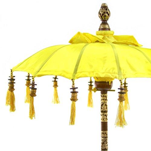 Koyal Wholesale Bali Umbrella Stand, 34-Inch Yellow Tall Moroccan Style Home Decor Items, Free-Standing Umbrella