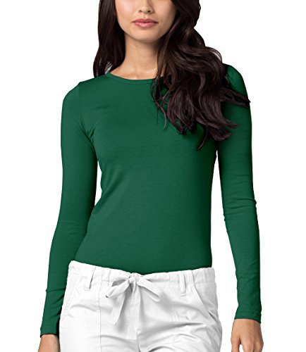 Adar Womens Comfort Long Sleeve T-Shirt Underscrub Tee - 2900 - Hunter Green - M by Adar Uniforms