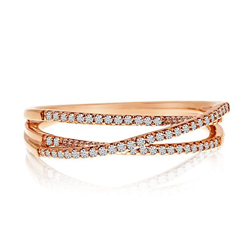 0.17 Carat (ctw) 14k Yellow Gold Round Diamond Crossover Open Stackable Band Ring - Size ()