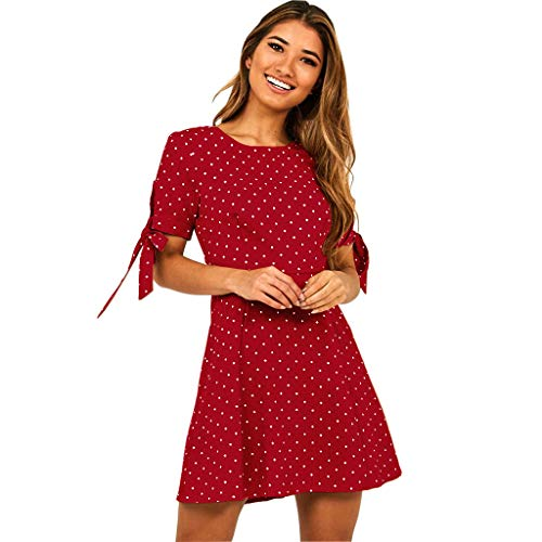 Tantisy ♣↭♣ Women Pleated Polka Dot Short Sleeve Dresses Loose Swing Casual Beach Dress Red