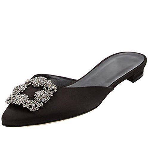 Gorgeous Black Satin Rhinestone Sandals - Kmeioo Mules for Women,Womens Satin Rhinestones Mule Flats Shoes Pointed Toe Jeweled Embellishment Mule Slides