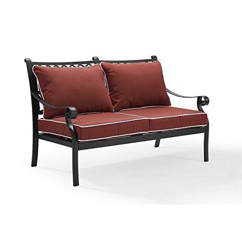 Crosley Furniture Portofino Outdoor Aluminum Loveseat with Sangria Cushions – Black