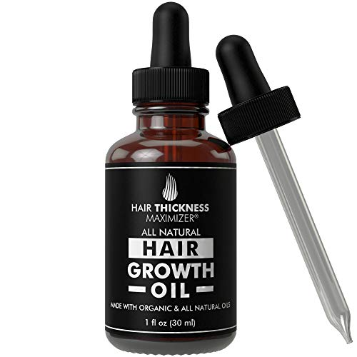 (BEST Organic Hair Growth Oils GUARANTEED. Stop Hair Loss NOW by Hair Thickness Maximizer. Best Treatment for Hair Thinning. Hair Thickening Serum With Organic Wild Black Castor Oil, Jojoba, Argan Oil)