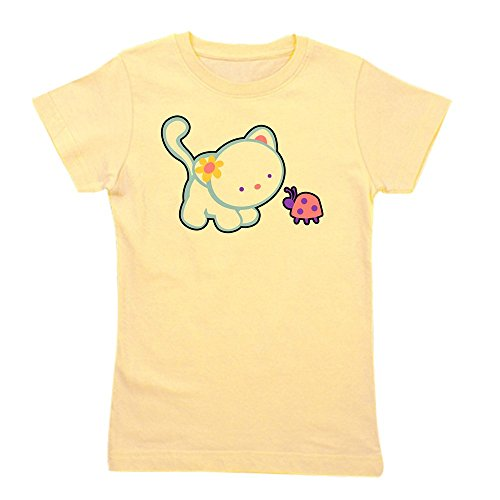 Royal Lion Girl's Tee T-Shirt Kitty Saying Hello to Ladybug - Light Yellow, Small