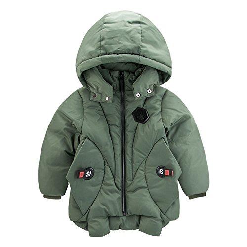 Children Winter Jackets Duck Down Padded Children Big Boys Warm Winter Down Coat Thickening Outerwear Green 5 -