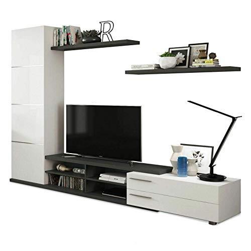 EGLEMTEK Parete Attrezzata Cordova Mobile Soggiorno TV con Mensole e  Colonna Salotto Legno Base Televisione Sala da Pranzo Design Moderno 240 x  41 x ...