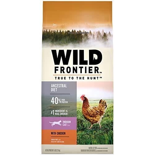 WILD FRONTIER Indoor Adult Grain Free Dry Cat Food Chicken Flavor, 5 lb. Bag (Best Low Carb Cat Food)