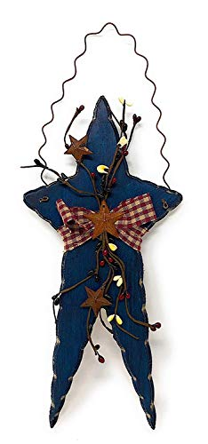 OBI Primitive Wooden Star - Rustic Patriotic Americana Wall Door Home Decor Wood Metal Burlap Fabric Berry - Blue