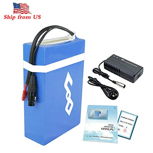 Co-well 48V 20AH Electric Bicycle Battery, Waterproof PVC Lithium Battery, Ebike Battery Pack with Charger and 30A BMS Protection for 1000W 750W 500W Bike Motor Mountain Bicycle