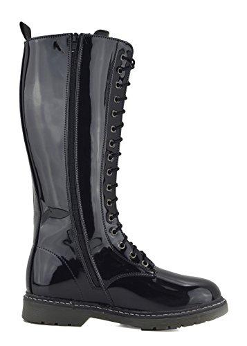 in stivali Ladies stivali lunghi Footwear alti al scarpe up Nera Donna pizzo pizzo Vernice ginocchio invernali Kick gYPnRxpR
