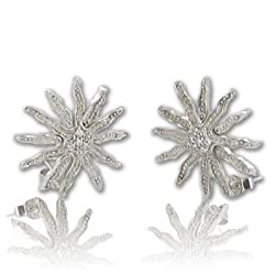 Ramona Singer Sterling Silver Sunburst Earrings with Crystal CZ Stones