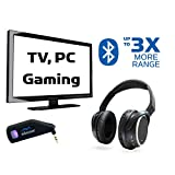 Long Range TV Wireless Headphones and Bluetooth Transmitter System, Connect TV to Bluetooth 5.0 Headphones Over Ear with Mic, PC Laptop Adapter, 2 Way Chat & Audio - Miccus Swivel Jack RTX & Headset