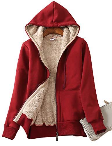 (Yeokou Women's Casual Full Zip Up Sherpa Lined Hoodie Sweatshirt Jacket Coat (Large, Wine Red))