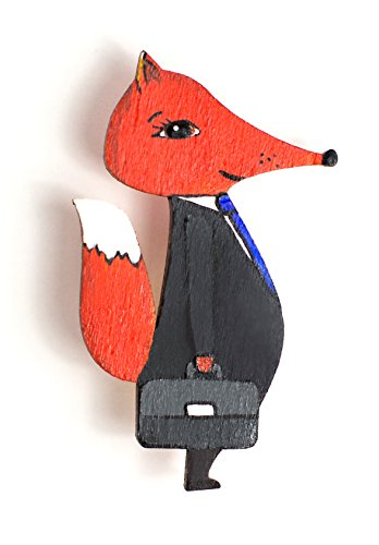 Mr. FOX - Lovely Wooden Brooch pin,lapel pin,cool Pin for clothes,pin,pins for Backpacks,Bags,Badges,Hats,Jeans, jacket - great Christmas gift
