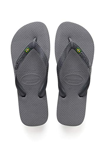 Havaianas Rubber Sole Sandals - Havaianas Men's Brazil Flip Flop Sandal,Steel Grey, 43/44 BR(11-12 M US Men's)