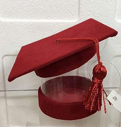 STOCK 24 PEZZI Scatolina Cappello Tocco Laurea Rosso portaconfetti porta  confetti PVC trasparente  Amazon.it  Casa e cucina 77ffe1e0072c