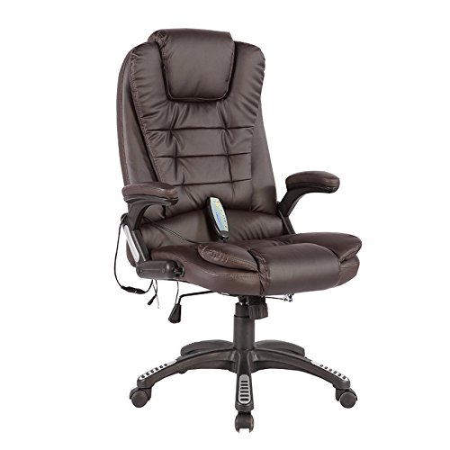 Mecor Heated Office Chair-High-Back Ergonomic Executive Office Chair w/6 Point Massage Function-PU Leather Computer Chair w/360 Degree Adjustable Height & Armrest (Brown) (Heated Massage Chair)