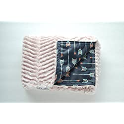 Modern Baby Blanket- Blush Pink and Arrows- Stroller Blanket