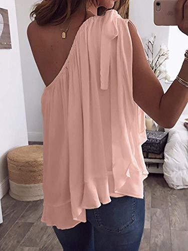 Mousseline Femme Tops Blouse Haut Une Fashion Large Dsinvolte Et Chemisier Style Elgante Volants Unicolore Manches Shirt Spcial sans avec Schwarz Epaule Cr8qCwA