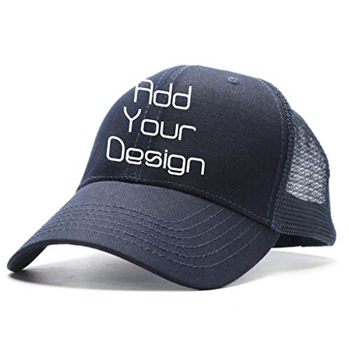 Custom Unisex Baseball Cap Personalized Gifts Dad Hat Trucker Hats Sun Helmet Plain Blank Cap (Men-Navy, One Size)
