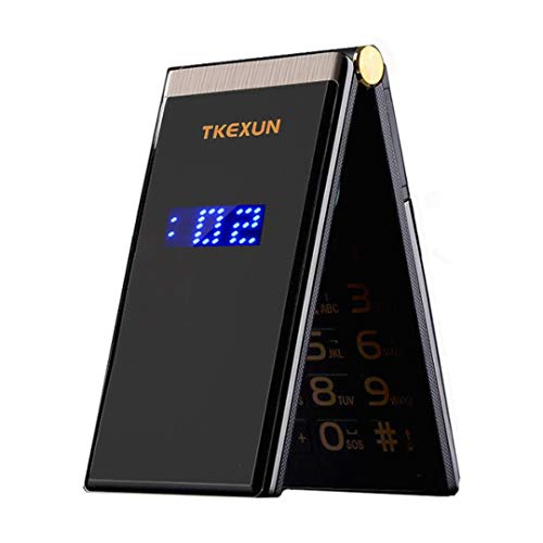 Tkexun M2 Men Flip Touch Big Screen 3.0″ Dual Sim Card Metal Body Mobile Cell Phone (Black)
