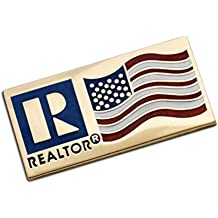 REALTOR Logo Branded and US Flag Lapel Pin with Magnetic Back (Gold)