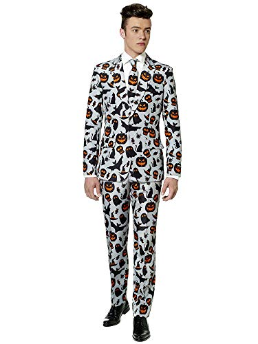 Oppo Suits Halloween (Suitmeister - Grey Icons - Halloween Suit for Men in Stylish Print - Full Set: Includes Jacket, Pants and Tie -)