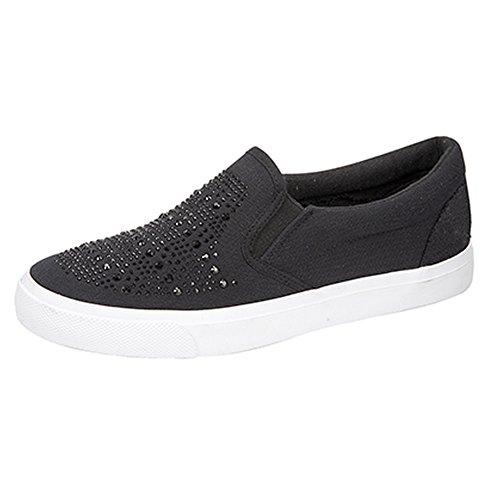 Dek Womens/Ladies Sparkle Vamp Twin Gusset Casual Shoes Black 4QQxpQx4Lv