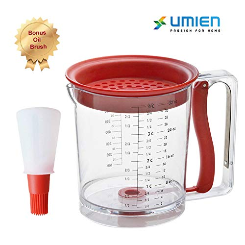 Umien Fat Separator And Pancake Cupcake Batter Dispenser - Great For Gravy Grease Oil Separator with Bottom Release Muffins Creeps Cakes & Waffles 4 Cup Capacity - Extra Bonus Oil Brush Included