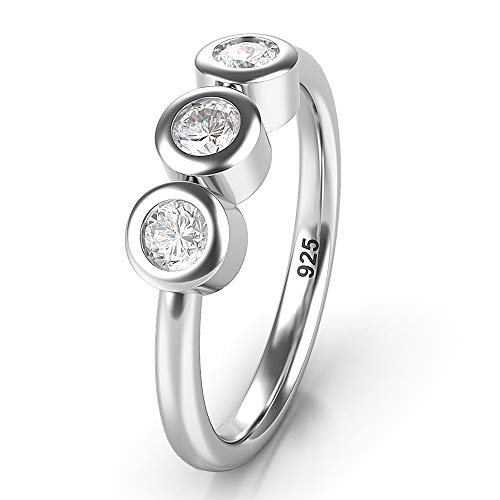 Metal Factory Sz 6.0 Solid Sterling Silver 3 CZ Past Present Future Wedding Engagement Ring ()