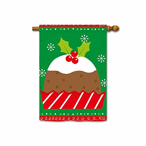 KafePross Christmas Cake with Holly Leaf on Top Cute Christmas Design House Flag 28