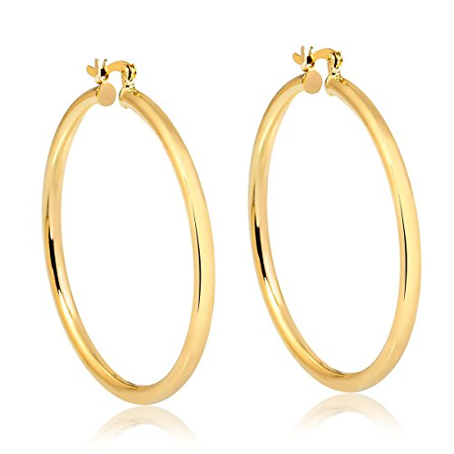 (14K Solid Gold 2.5X30MM thick Round Hoop Earrings- French Lock Closure)