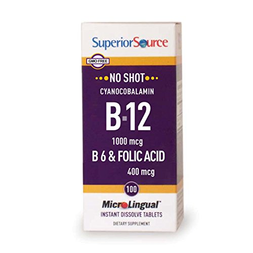 Superior Source No Shot Vitamin B6/Vitamin B12/Folic Acid Nutritional Supplements, 1000mcg/400 mcg, 100 Count