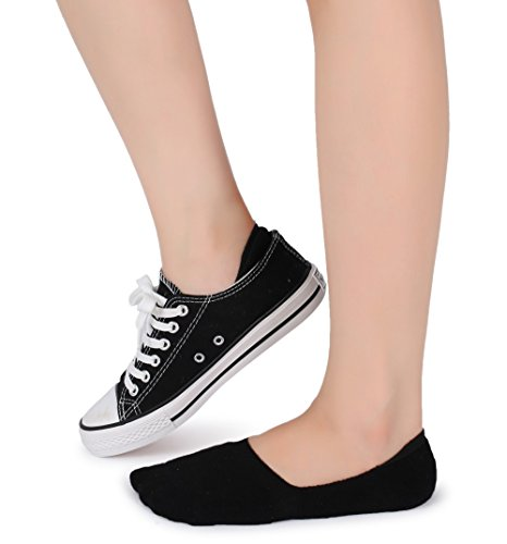 Eleray 5-Pack Women's Thick Cushion Cotton Casual Low Cut Falt Non-Slip No Show Liner Socks (Black) by eleray (Image #6)
