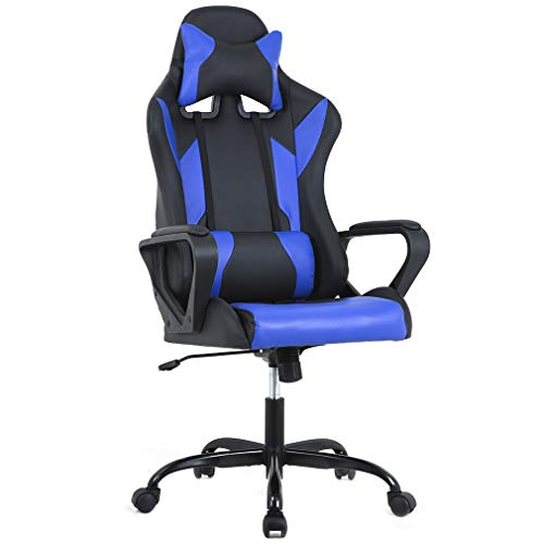 High-Back Racing Chair PU Leather Chair Reclining Computer Desk Chair Ergonomic Executive Swivel Rolling Chair with Adjustable Arms Lumbar Support For Women, Men(Blue) ()