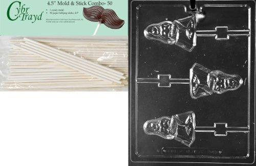 Cybrtrayd 45St50-N063 Mermaid Lolly Nautical Chocolate Candy Mold with 50-Pack 4.5-Inch Lollipop Sticks