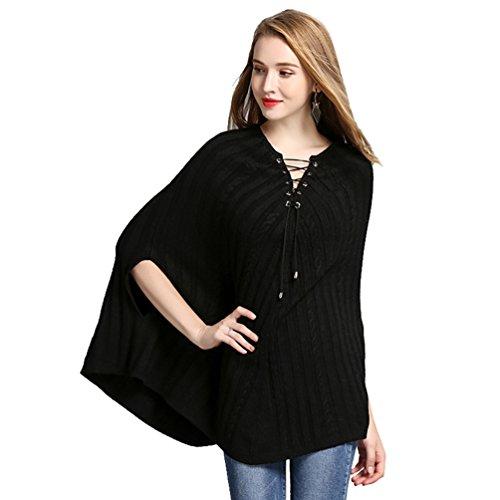 De Para Suéter Invierno Creativo Mujer Sólido Casual Color Negro WanYang Punto E Chal Otoño Pulóver Suéter De wq5HXw