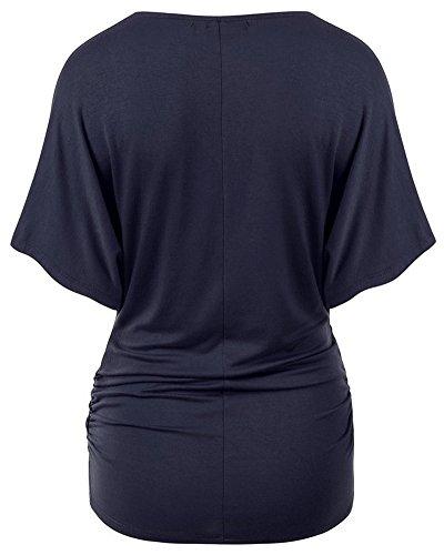 Mujeres Camiseta Flojo Ajuste Murciélago Ala V Cuello Con Mangas Cortas Armada