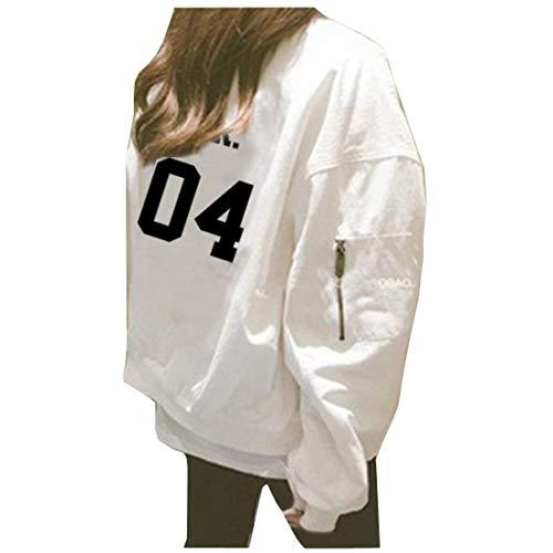 Digitale Lunga Eleganti Con Qualità Cute Moda Giaccone Prodotto Manica Cerniera Autunno Stampate 5 Outerwear Plus Alta Cappotto Primaverile White Di Donna Giubbino Casual Chic Sciolto RUIqTT