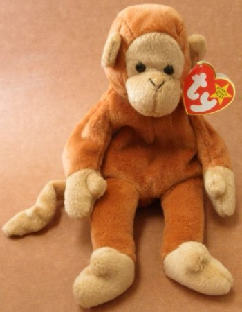 TY Beanie Babies Bongo the Monkey Stuffed Animal Plush Toy - 9 inches tall